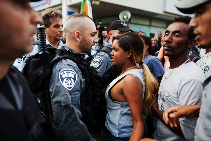 An Israeli Woman Stands Up Against Police Brutality At A Protest In Tel-Aviv