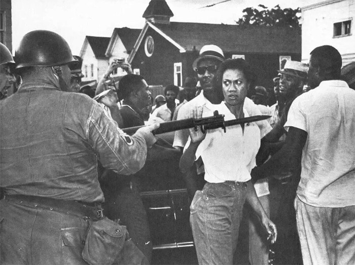 Gloria Richardson Pushes Away The Bayonet Of A National Guardsman During A Protest In Cambridge, Md., 1963