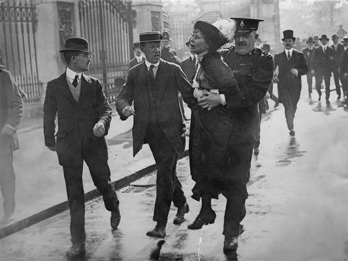 Suffragette Emmeline Pankhurst Is Arrested At A Demonstration Outside Buckingham Palace, January 1914