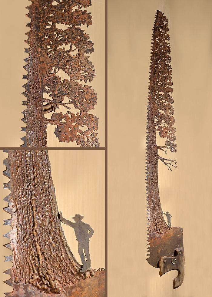This Was A Fun Saw To Make! A Giant Tree With Textured Bark And Leaves!