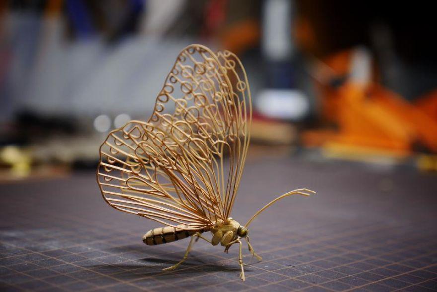 Невероятно сложные фигурки насекомых из бамбука японского художника