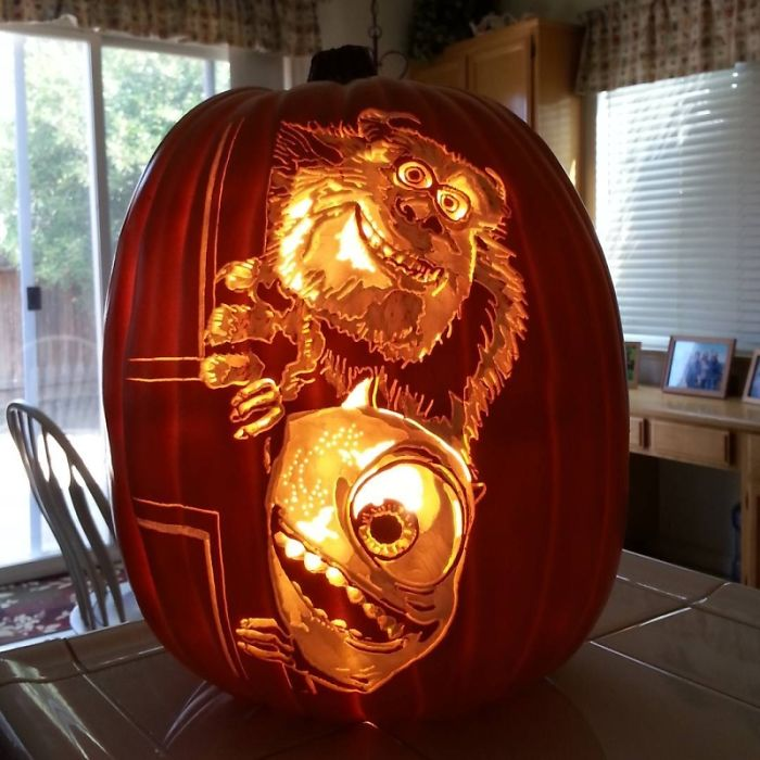 Artist carves portraits of famous pop culture characters for Sully pumpkin template