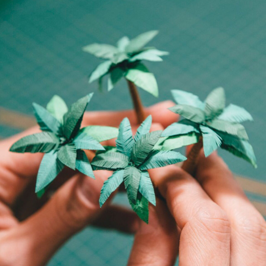 Tiny Terrariums With Miniature Paper Plants, Blooming Cacti And Flowers
