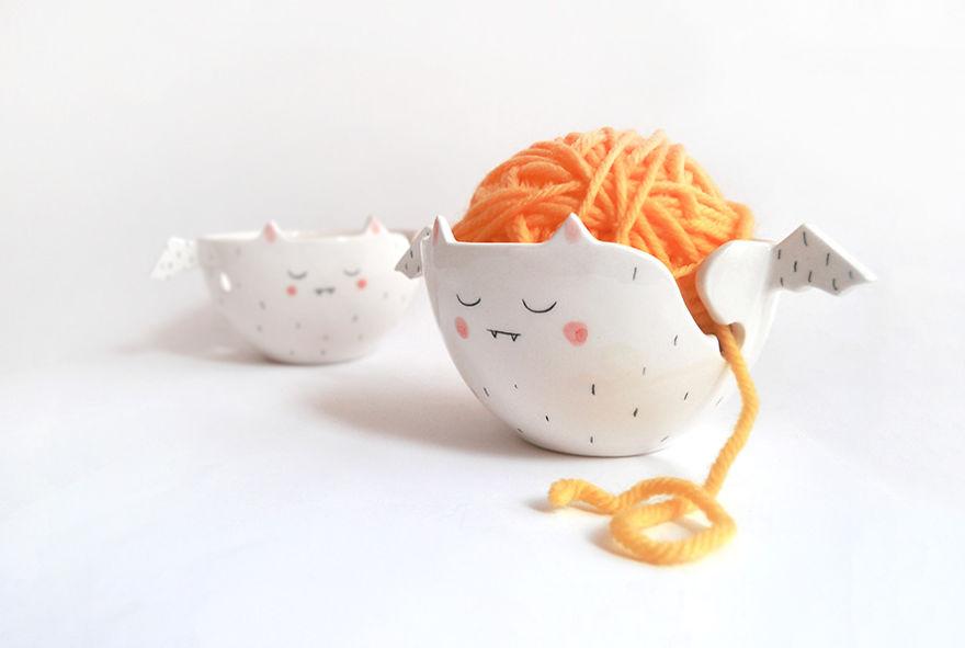 White Vampire Yarn Bowls