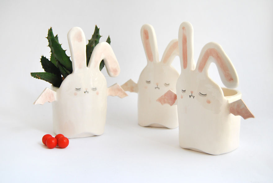 White Vampire Rabbit Planters
