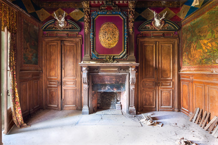 Abandoned Room With Fireplace