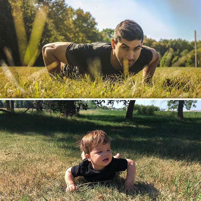 Baby Copies Model Poses