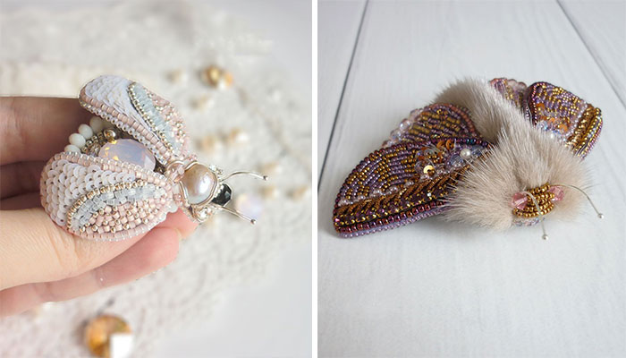 Russian Artist Creates Shiny Insect Jewelry Using Beads