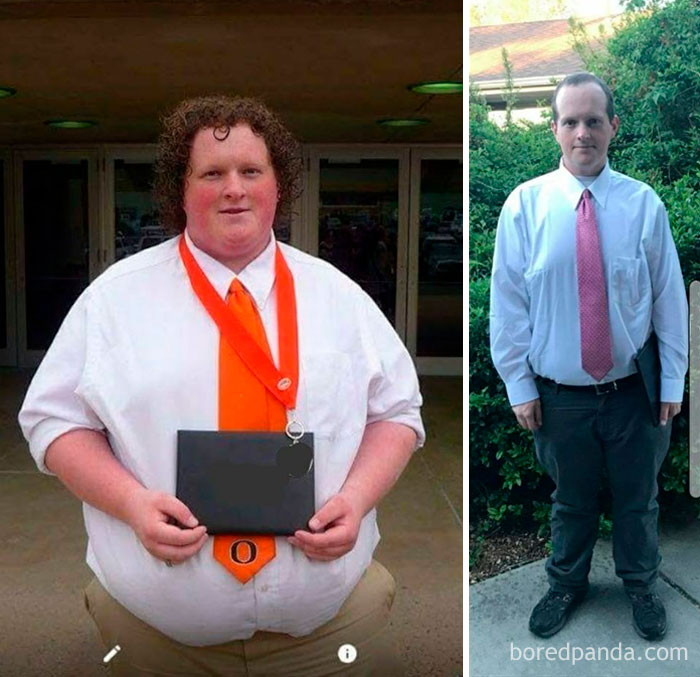 My Weight Loss Journey, 382 Lbs To 240 Lbs In A Year And A Half. This Is Me At My High School Graduation Vs My Tech College Graduation Yesterday