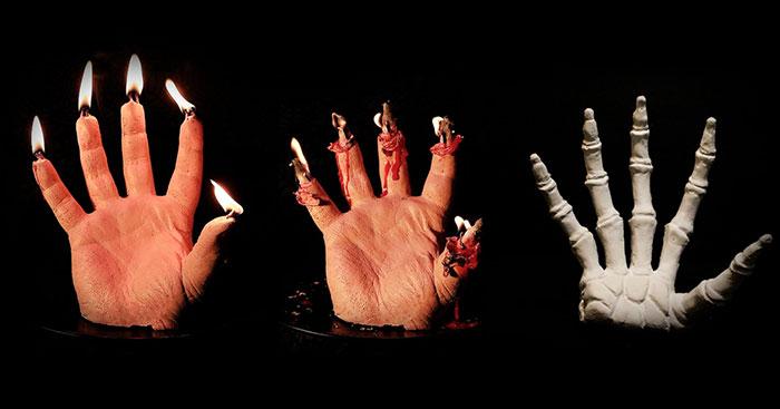 Esta vela en forma de mano sangrante muestra su esqueleto oculto al derretirse, y es terrorífico