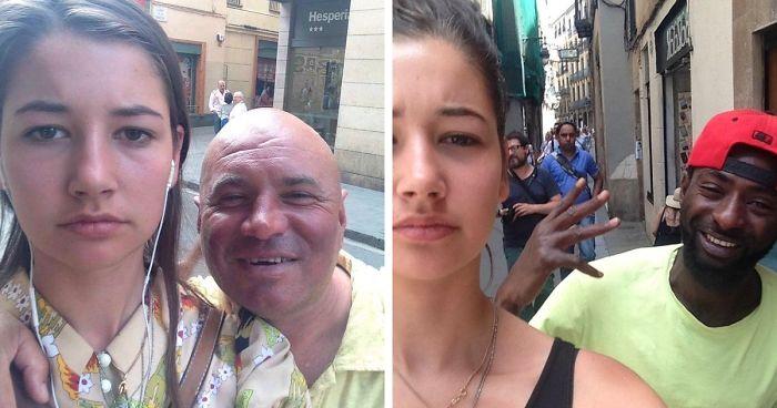 Esta mujer estaba harta de que los hombres la piropearan desagradablemente por la calle, así que empezó a hacerse selfies con ellos, y los resultados son inquietantes