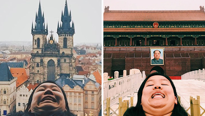 """Chinning: Woman Fights Against The """"Perfect"""" Social Media Photos With Hilarious Travel Photos"""
