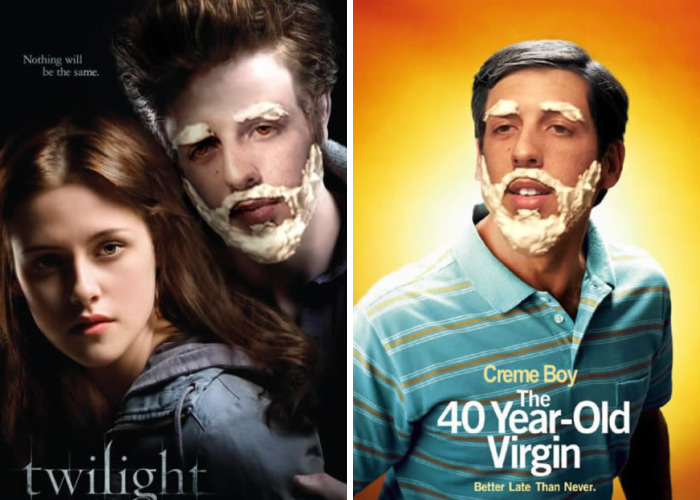 Guy Photoshops His Shaving Creme Character 'Creme Boy' In Movie Posters