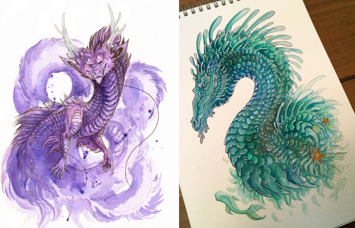 I Created A Sketchbook Full Of Colourful Dragon Illustrations