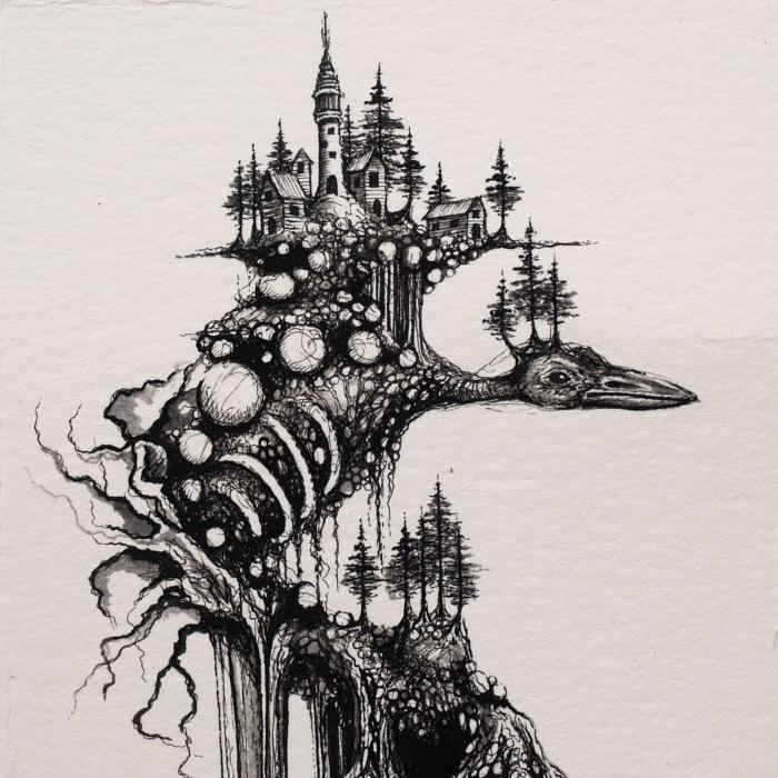 I Make Surreal Nature Inspired Ink Illustrations
