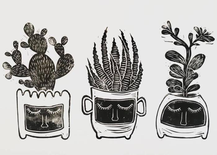 I Make Unique Botanical Inspired Linocut Prints