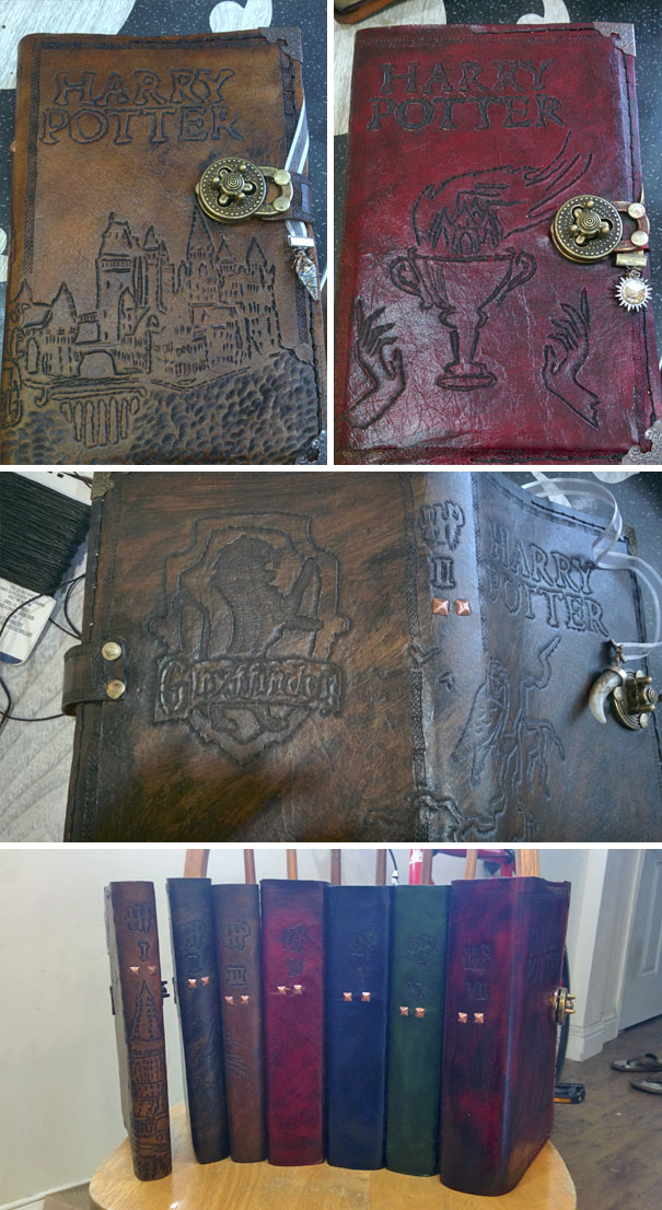 I Made Custom Leather Covers For Each Of The Harry Potter Books For My Girlfriend's Birthday