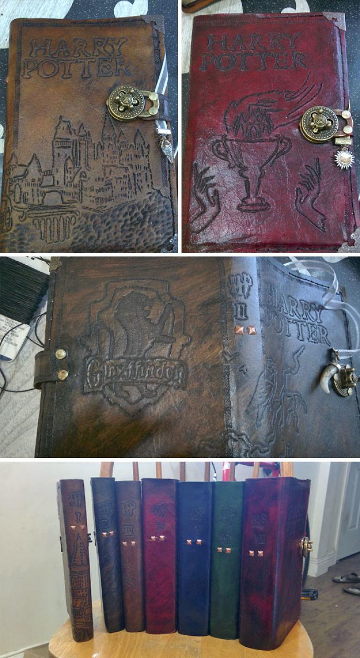 He fabricado cubiertas de cuero personalizadas para cada uno de los libros de Harry Potter de mi novia
