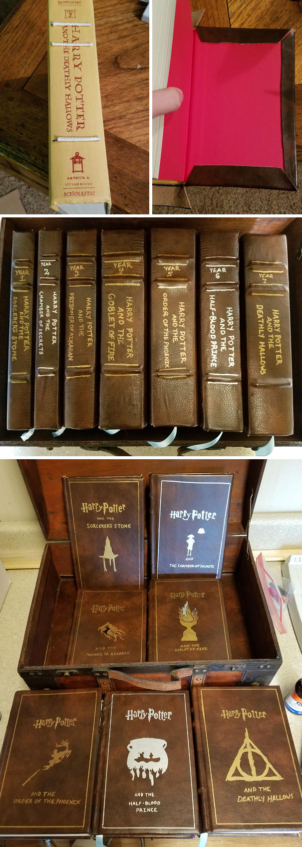 Made Leather Bound Copies Of The Harry Potter Books For My Wife For Christmas