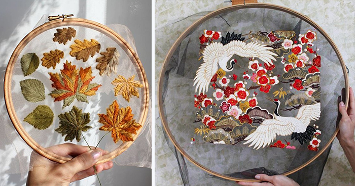Stunning Embroidery Designs Are Stitched on Tulle To Make It Look Like They're Floating in Mid-Air
