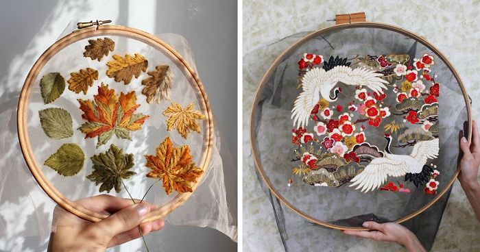 Embroidery artist makes her designs 'float in mid air by