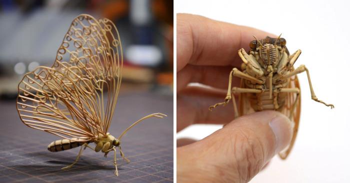 Este artista japonés crea insectos increíblemente intrincados a tamaño real hechos con bambú
