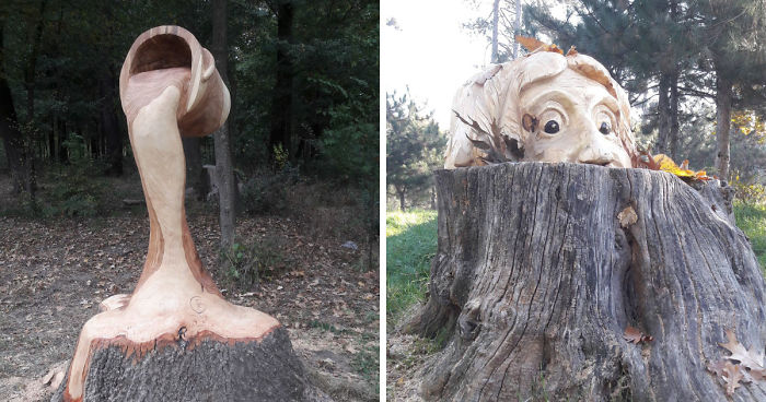 Romanian Artist Uses A Chainsaw To Turn Tree Stumps Into Eye-Catching Sculptures