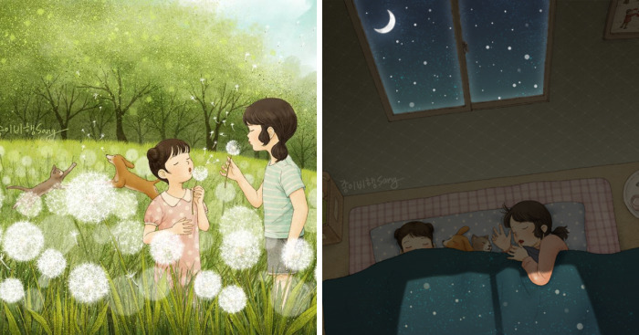 Korean Artist Illustrates Her Memories Of Growing Up With A Sister