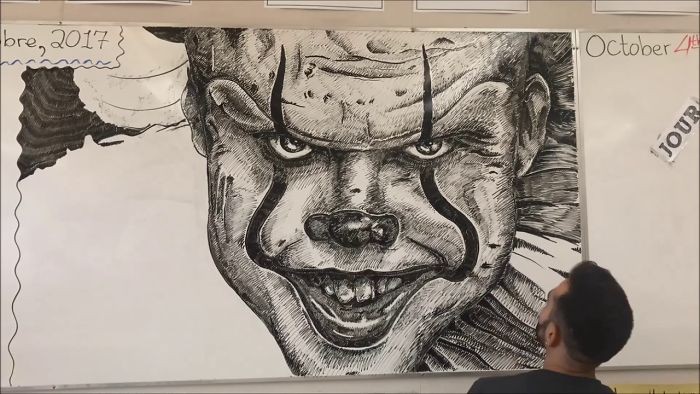 Time-Lapse Whiteboard Drawing Of Pennywise