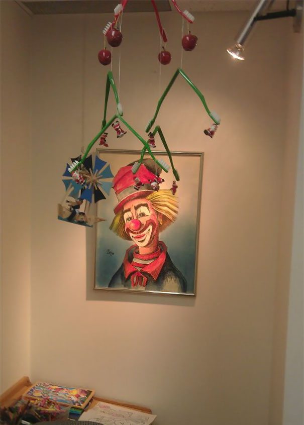 Walked Into My New Dentist Office And Am Shaking With Anxiety. My Two Biggest Fears: Dentists And Clowns