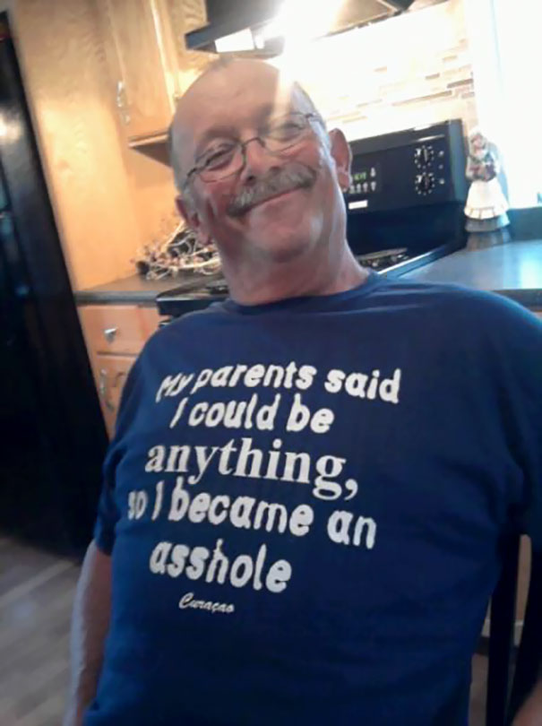 My Uncle Teddy Wearing His New Shirt With Pride