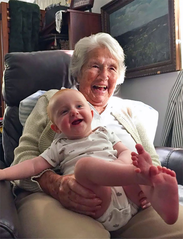 My 96-Year-Old Grandmother Meeting Her Great-Granddaughter For The First Time. I Can't Tell Who's Happier