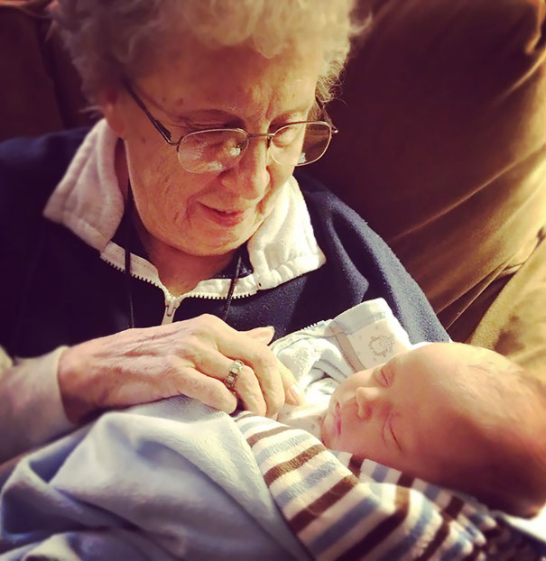 Best Picture I've Ever Taken. My Grandmother-In-Law Meeting Her First Great-Grandchild