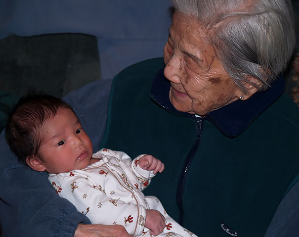 My 2-Week-Old Daughter, Born In 2010, Being Held By Her Great-Grandmother, Who Was Born In 1910