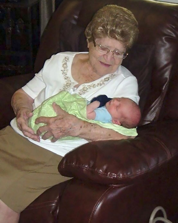 A Picture Of My 100-Year-Old Great Grandma With My 1-Week-Old Nephew. Five Generations Apart