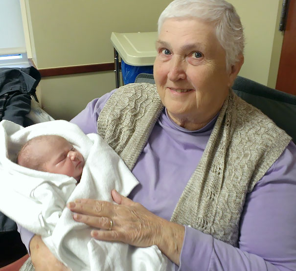 My Amazing Grandmother Who Just Beat Breast Cancer Holding Her 2-Hour-Old 5th Great-Granddaughter
