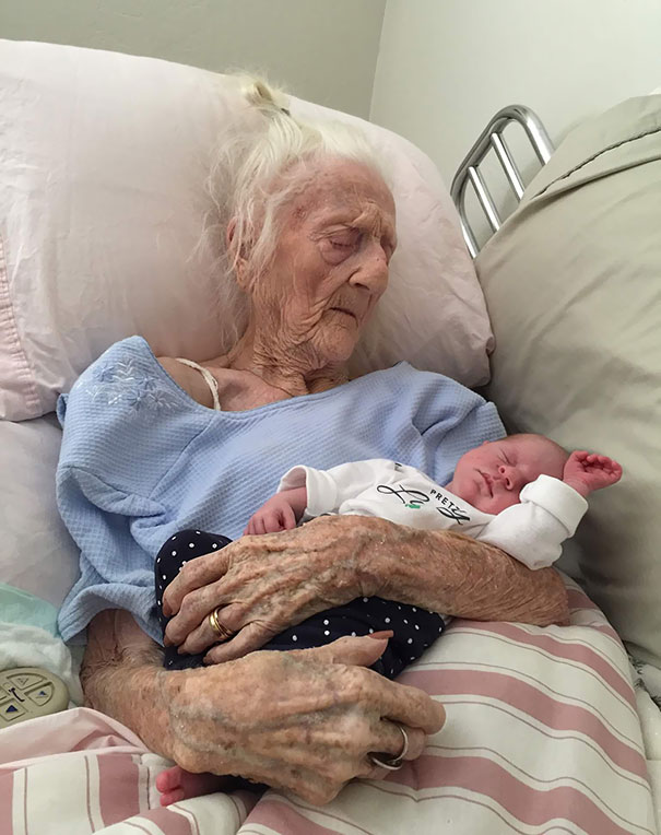 101-Year-Old Holding A 13-Day-Old. Pure Beauty