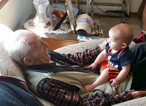 This Is A Photo Of My Grandfather With My Grandson