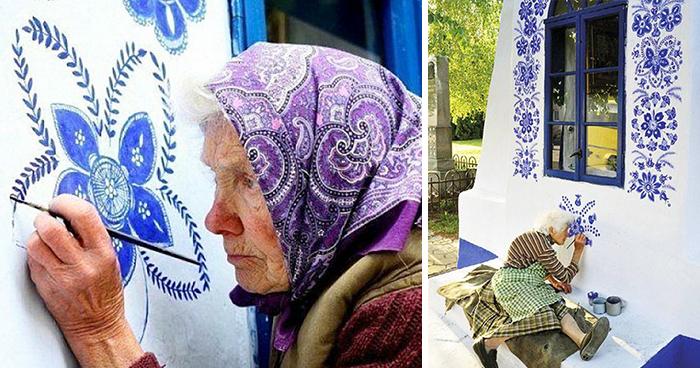 90 Jahre alte Tschechische Oma bemalt Häuser per Hand und verwandelt das ganze Dorf in ihre Galerie