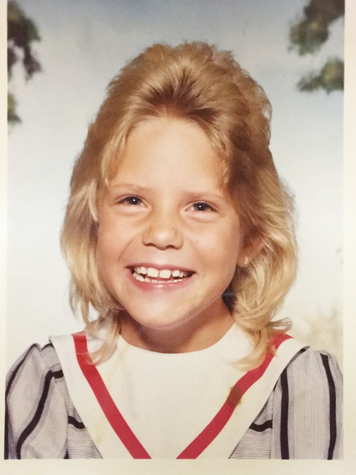 Me As A 4th Grader In A Pencil Skirt, Sporting Helmet Hair.