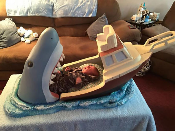 Uncle Made Jaws-Inspired Crib For His 2-Month-Old Nephew