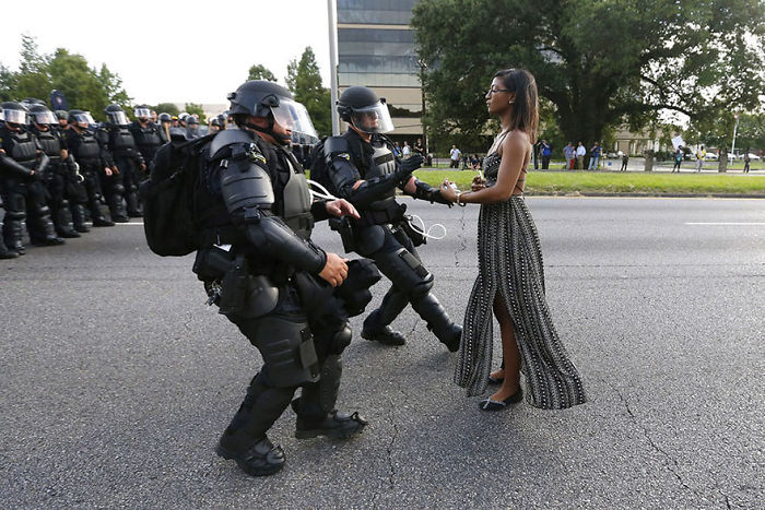 Protester Ieshia Evans Is Detained By Law Enforcement Near The Headquarters Of The Baton Rouge Police Department In Baton Rouge, Louisiana, During A Demonstration Against The Shooting Death Of Alton Sterling, 9 July 2016