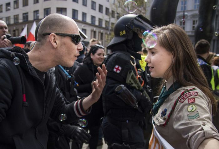 16-Year-Old Student, Lucie Myslikova Confronting A Neo-Nazi Demonstrator
