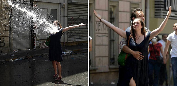 Woman Braves The Water Cannon In Turkey, 2013