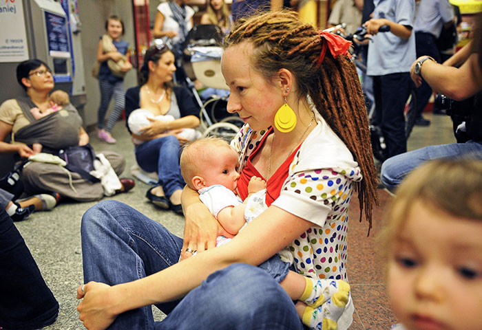 Polish Women Take Part In A Breastfeeding Is Not Obscene Protest In Warsaw's Subway. In Reaction To A Ban Imposed By City Officials On An Art Project, Portraying Breastfeeding Mothers, 15 June 2011