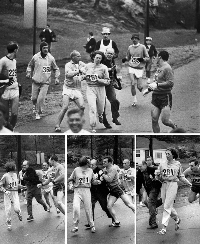 Kathrine Switzer Was The First Woman To Run The Boston Marathon. When Organizer Jock Semple Realised A Woman Was Running He Tried To Tackle Her, 1967