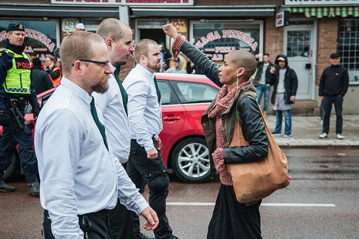 "Maria-Teresa ""Tess"" Asplund Stands Up To Uniformed Demonstrators In A Nazi Demonstration In Borlänge, Sweden, 1 May 2015"