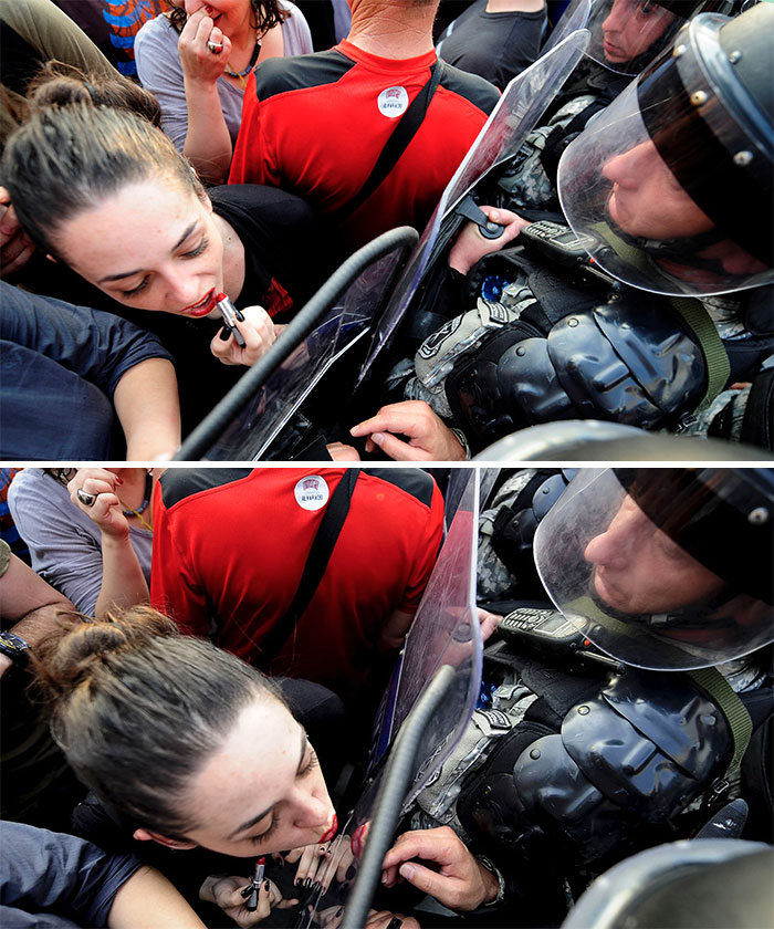 Jasmina Golubovska Kisses The Shield Of A Police Officer In Front Of The Macedonian Government Building In Skopje, 5 May 2015