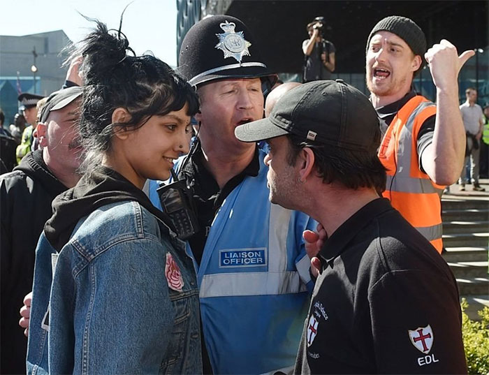 """Photo Of Saffiyah Khan Smiling At An English Defence League (Edl) Protester In Birmingham Was Snapped After She Stepped In To Defend A """"Fellow Brummie"""""""