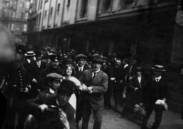 English Suffragette Annie Kenney (1879 - 1953) Is Arrested During A Demonstration